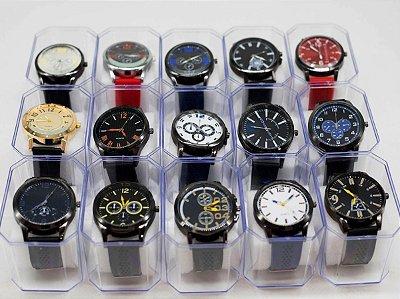 Kit 10 Relógios Masculinos em Silicone + Caixas No Atacado