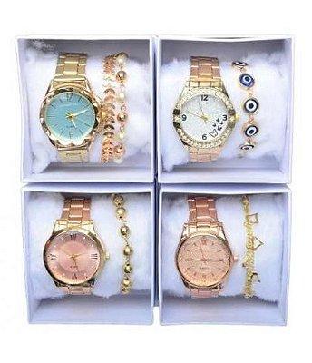 Kit 10 Relógios Femininos + Caixinhas + Pulseiras + Brincos