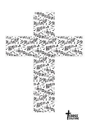 Quadro Cruz notas musicais preto