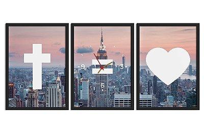 Conjunto de quadros com relógio (4 modelos)