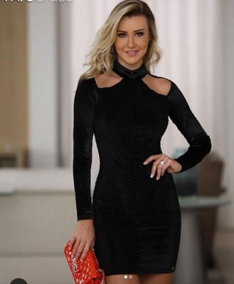 Vestido de Veludo Fato Básico - Ana Paula Siebert