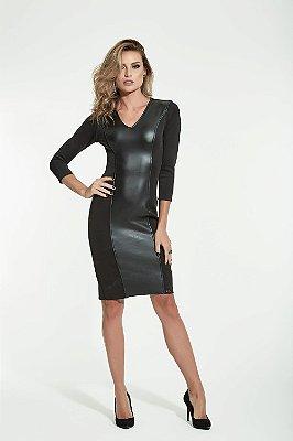 Vestido Neoprene com detalhe em couro fake - INDEX