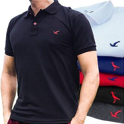 Kit 5 Camisas Polo Masculinas Lisas Originais Básicas - Várias Cores