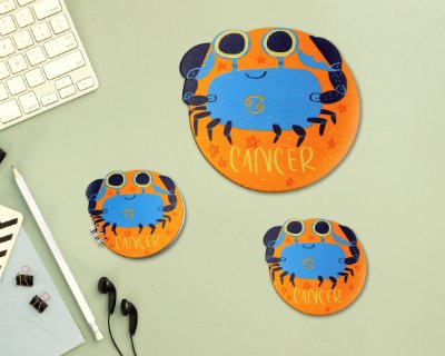 CÂNCER - mouse pad + bloco + porta-copos