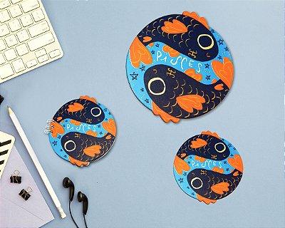 PEIXES - mouse pad + bloco + porta-copos