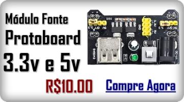 Módulo de Fonte Ajustável Protoboard - 3.3v 5v