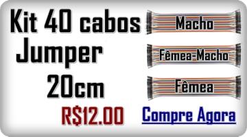 Kit 40 Cabos Jumpers de 20 Cm para Arduino