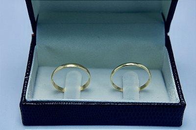 Alianças Casamento Ouro 18k 750 Polidas 2 mm 2.8g o Par.