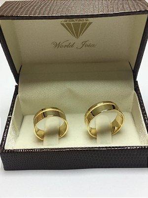 Alianças Casamento Ouro 18k 750 Polidas Com Canaleta Fosca 8mm 15g o Par.