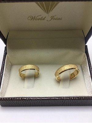 Alianças Casamento Ouro 18k 750 Diamantada (Fosca)  5mm 8.3g o Par.
