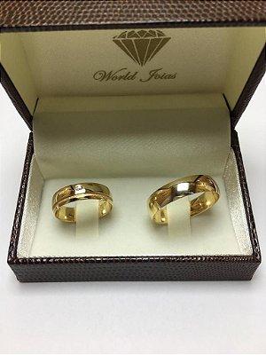 Alianças Casamento Ouro 18k 750 Polidas Com Canaleta Fosca  6mm 11g o Par.