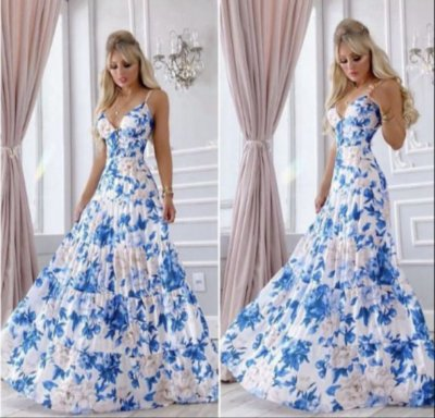 Vestido Patrícia Azul estampado