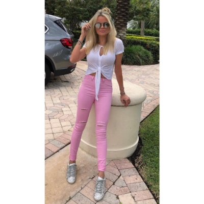 Calça sarja rosa