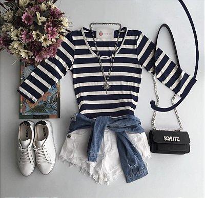 Blusa listrada azul