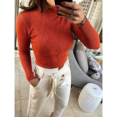 Blusa tricot trama terracota