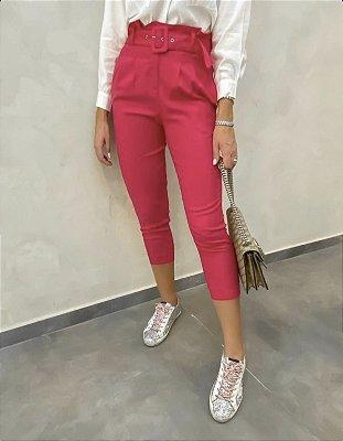 Calça linho com cinto cor pink