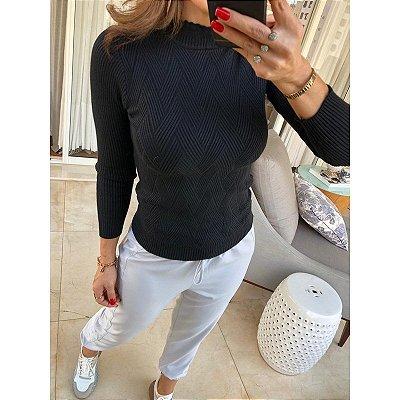 Blusa tricot trama preto