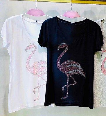 Tee Flamingo preta