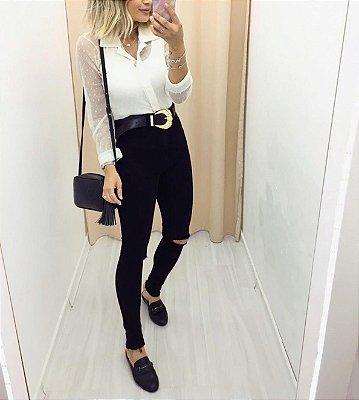 Calça jeans hot pants preta