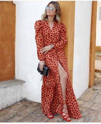 Vestido longo cereja