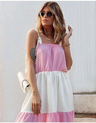 Vestido longo branco e rosa