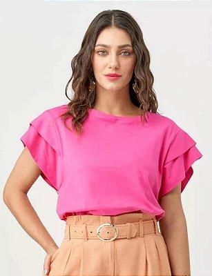 Blusa rosa detalhes