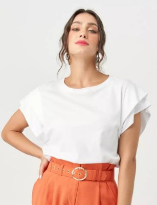 Blusa detalhes mangas branca