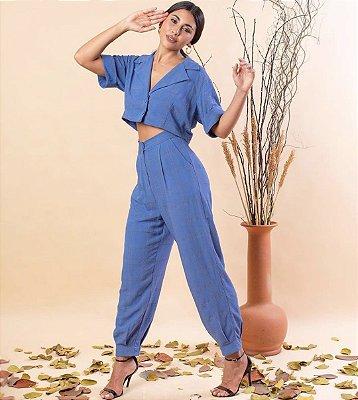 Conjunto Nina Xadrez Azul