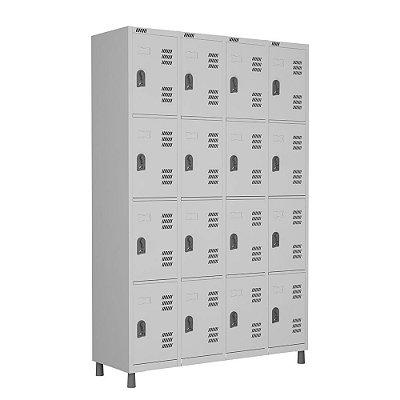 Roupeiro Vestiário 16 portas c/ pitão p/ cadeado L 123 x P 40 x A 190cm