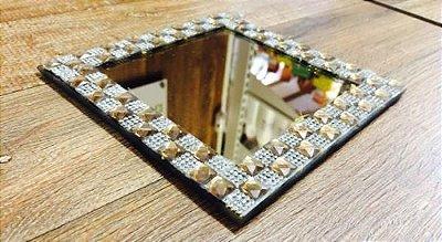 Bandeja espelho quadrado com moldura de vidro