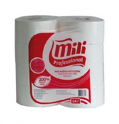 Papel higienico rolao Soft Duo Mili f.dupla 100% 10x250 8un