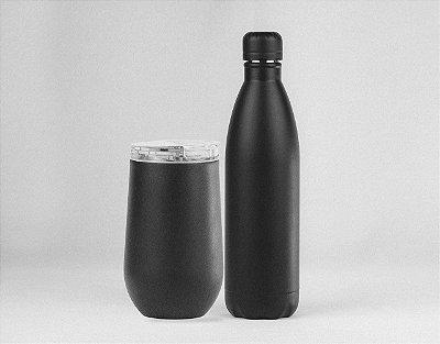 KIT com Copo Belli Black + Garrafa Térmica Gyme 500ml Black