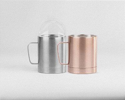 KIT com 2  Caneca  Térmica Mugy 300ml Silver e Rose