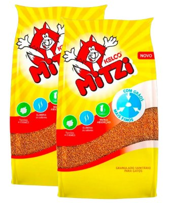 2 Pacotes de 12kg - Areia para Gatos Mitzi Kelco Granulado Sanitário
