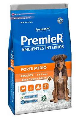 Ração Premier Ambientes Internos Sabor Frango e Salmão para Cães Adultos Porte Médio - 2,5kg