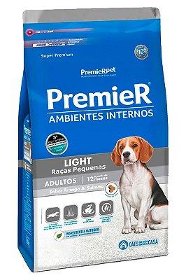 Ração Premier Light Ambientes Internos Sabor Frango e Salmão para Cães Adultos de Raças Pequenas - 1kg