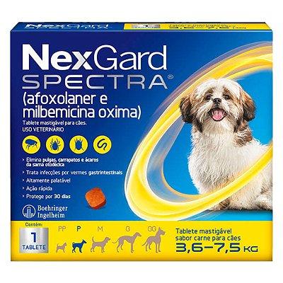 Antipulgas e Carrapatos NexGard Spectra para Cães de 3,6 a 7,5Kg C/1 Tablete