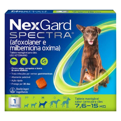 Antipulgas e Carrapatos NexGard Spectra para Cães de 7,6 a 15Kg C/1 Tablete
