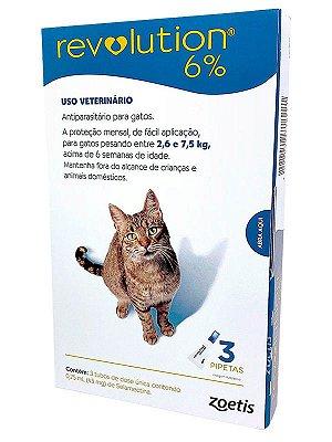 Antipulgas e Carrapatos Revolution 6% Zoetis para Gatos de 2,6 a 7,5kg com 3 pipetas de 0,75mL (45mg)