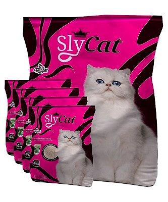 5 Pacotes de 4kg - Areia Higiênica Sly Cat para Gatos