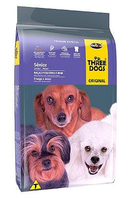 Ração Three Dogs Original para Cães Sênior de Raças Pequenas e Mini Sabor Frango e Arroz - 15Kg