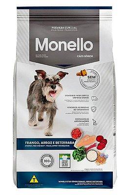 Ração Monello Premium Especial Sabor Frango, Arroz e Beterraba para Cães Sênior - 10,1kg