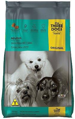 Ração Three Dogs Original Frango, Carne e Arroz para Cães Adultos Raças Pequenas e Mini - 10,1Kg