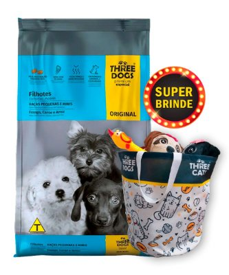 Ração Three Dogs Original Frango, Carne e Arroz para Cães Filhotes Raças Pequenas e Mini - 10,1Kg + Brinde