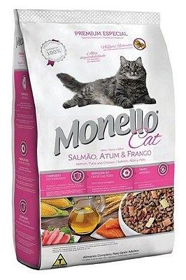 Ração Monello Cat Sabor Salmão, Atum e Frango para Gatos Adultos - 1Kg, 7Kg ou 15Kg