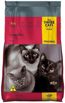 Ração Three Cats Premium Especial Sabor Carne para Gatos Castrados - 1Kg