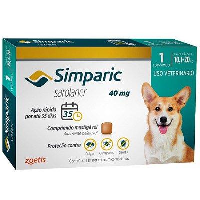 Antipulgas Simparic 40 mg para cães 10,1 a 20 kg C/1 Comprimido Avulso - Zoetis