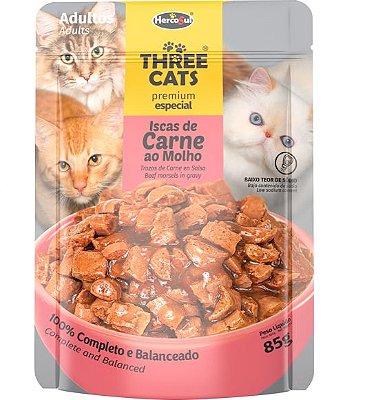 Ração Úmida Sachê Three Cats Premium Especial para Gatos Adultos Sabor Iscas de Carne ao Molho - 85g