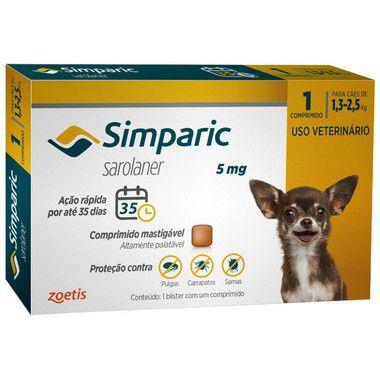 Antipulgas Simparic 5 mg para cães 1,3 a 2,5 kg  C/1 Comprimido Avulso - Zoetis