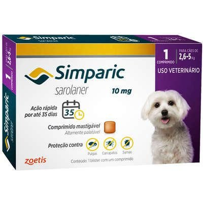 Antipulgas Simparic 10 mg para Cães 2,6 a 5 kg C/1 Comprimido Avulso - Zoetis
